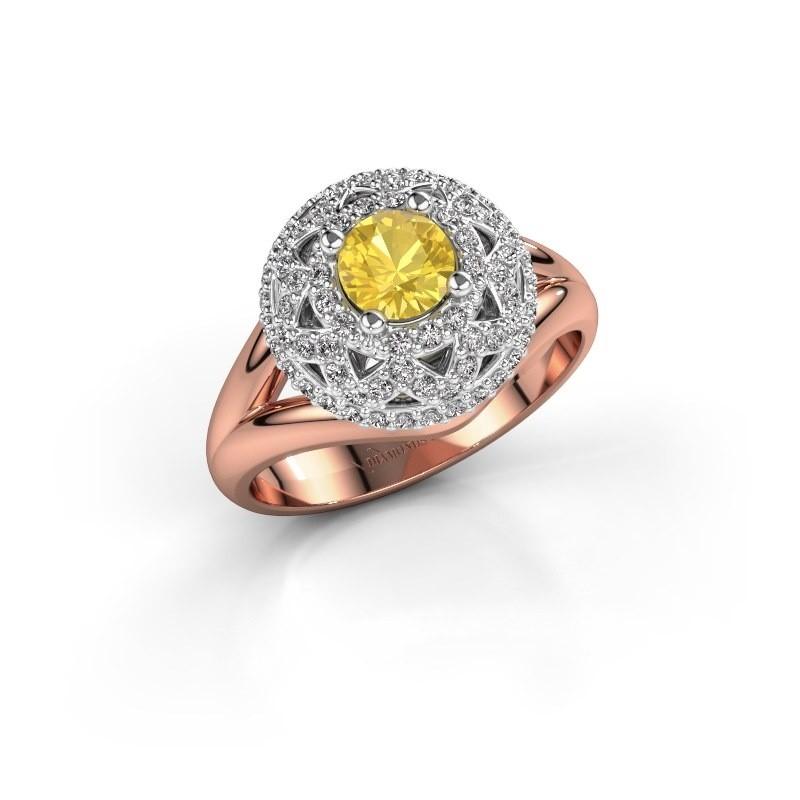 Ring Leonora 585 rose gold yellow sapphire 5 mm