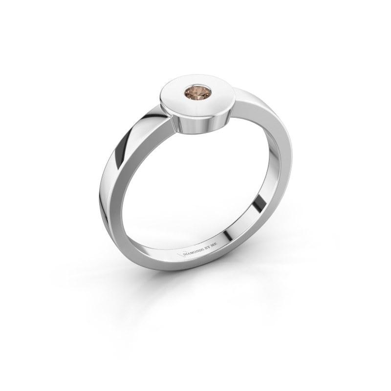 Ring Elisa 950 platinum brown diamond 0.10 crt