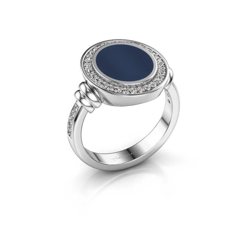 Zegelring Servie 2 950 platina donker blauw lagensteen 12x10 mm