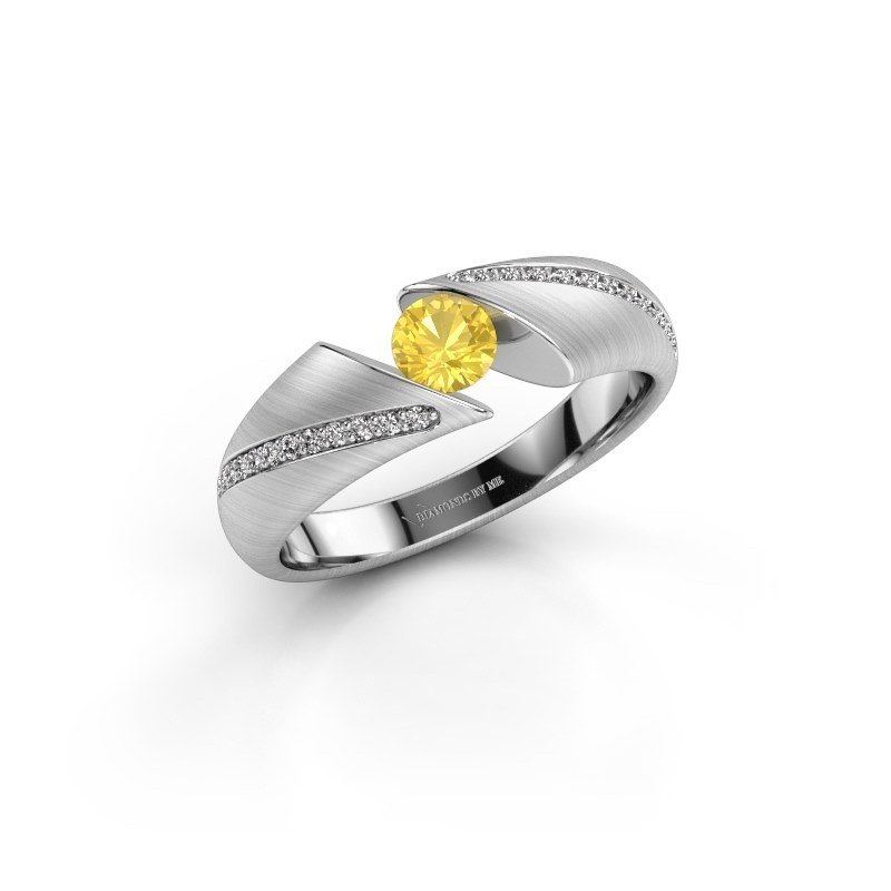 Engagement ring Hojalien 2 585 white gold yellow sapphire 4.2 mm