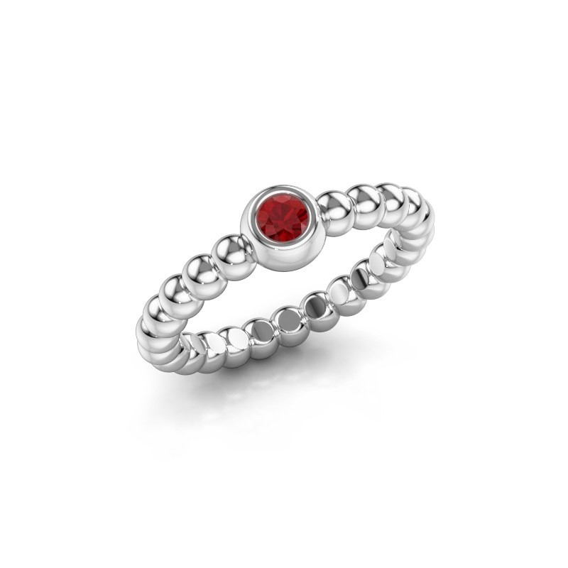 Stackable ring Dini 585 white gold ruby 3 mm