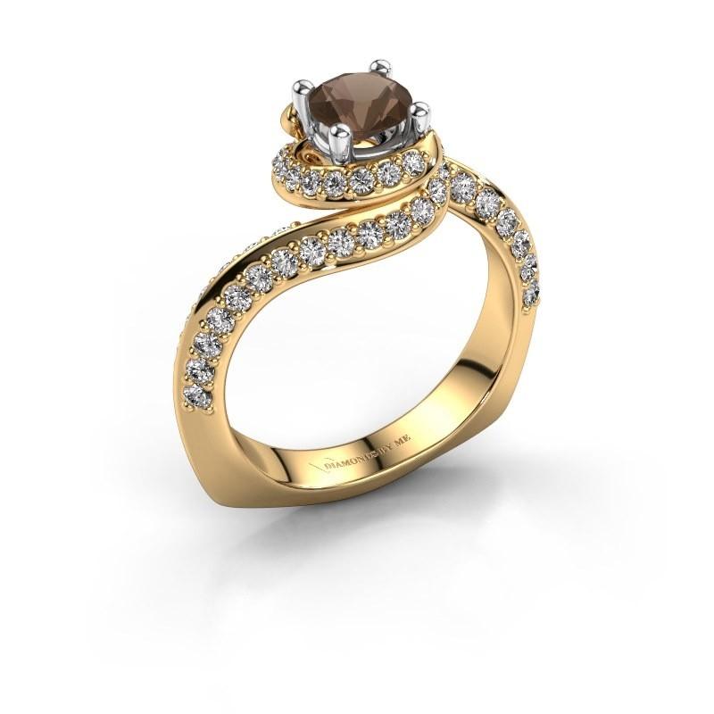 Verlovingsring Sienna 585 goud rookkwarts 5 mm