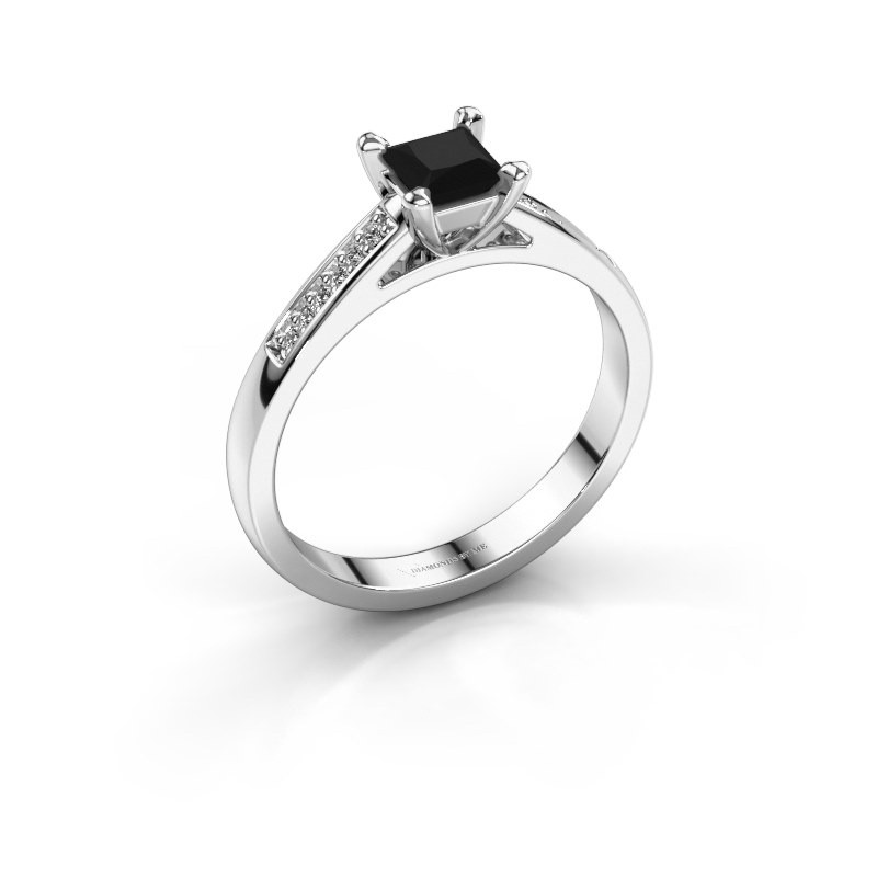 Engagement ring Nynke SQR 950 platinum black diamond 0.54 crt
