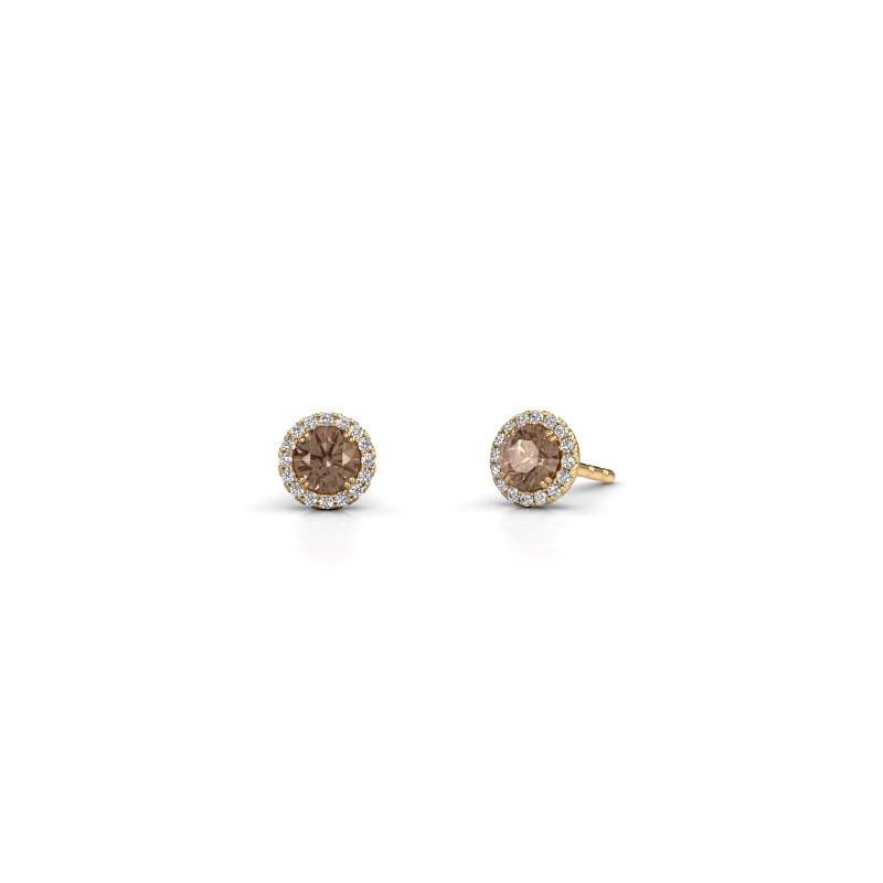 Earrings Seline rnd 375 gold brown diamond 0.64 crt