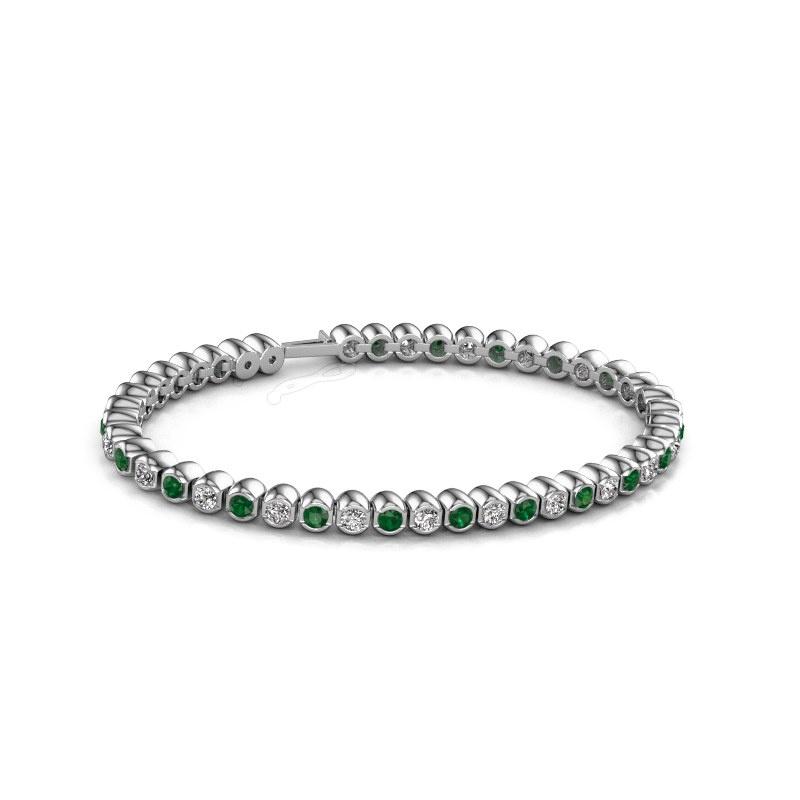 Tennisarmband Bianca 3 mm 585 witgoud smaragd 3 mm