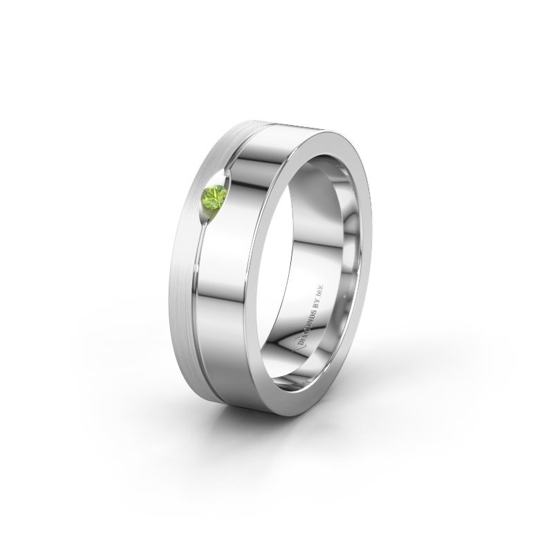 Wedding ring WH0329L16B 950 platinum peridot ±6x2 mm