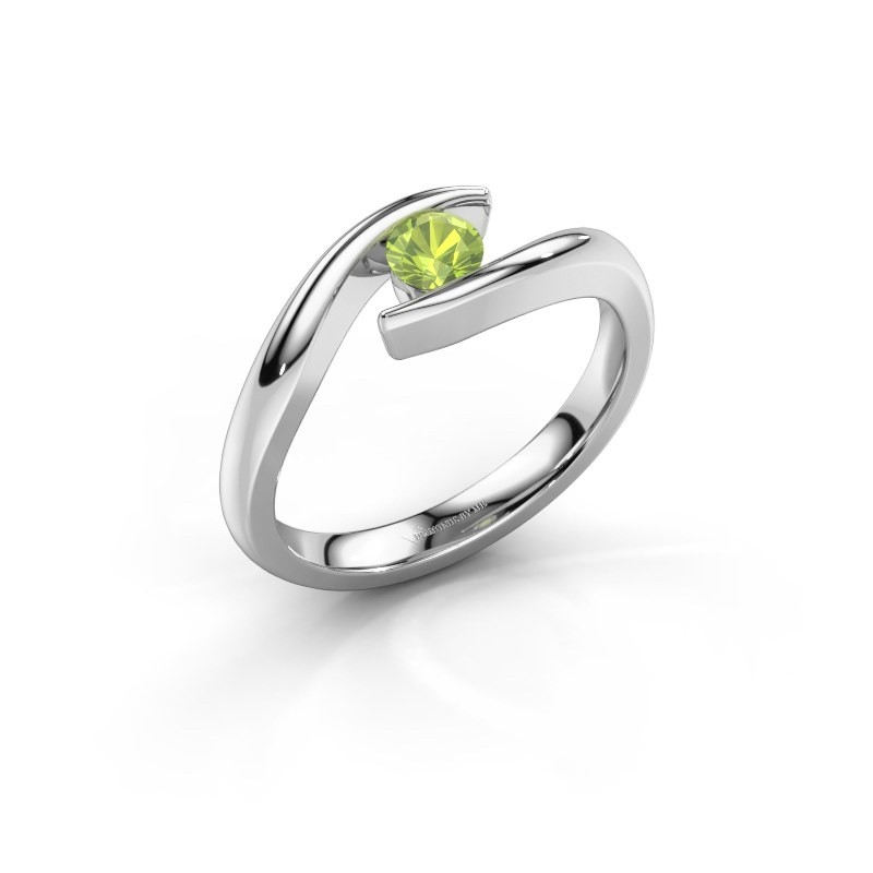 Engagement ring Alaina 585 white gold peridot 4 mm