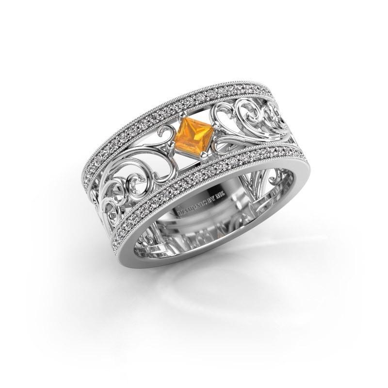 Ring Danae 585 Weißgold Citrin 3 mm