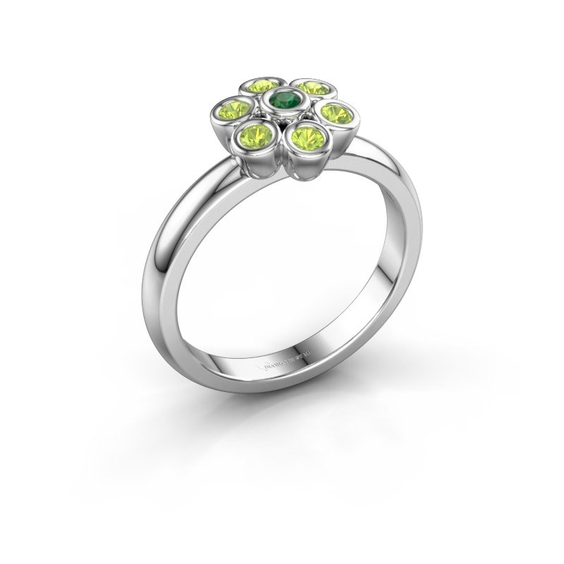 Ring Aaliyah 925 zilver smaragd 2 mm