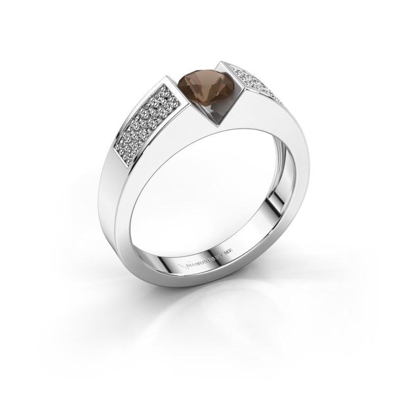 Engagement ring Lizzy 3 950 platinum smokey quartz 5 mm