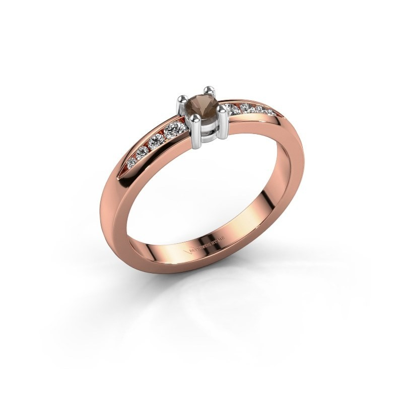 Verlovingsring Zohra 585 rosé goud rookkwarts 3 mm