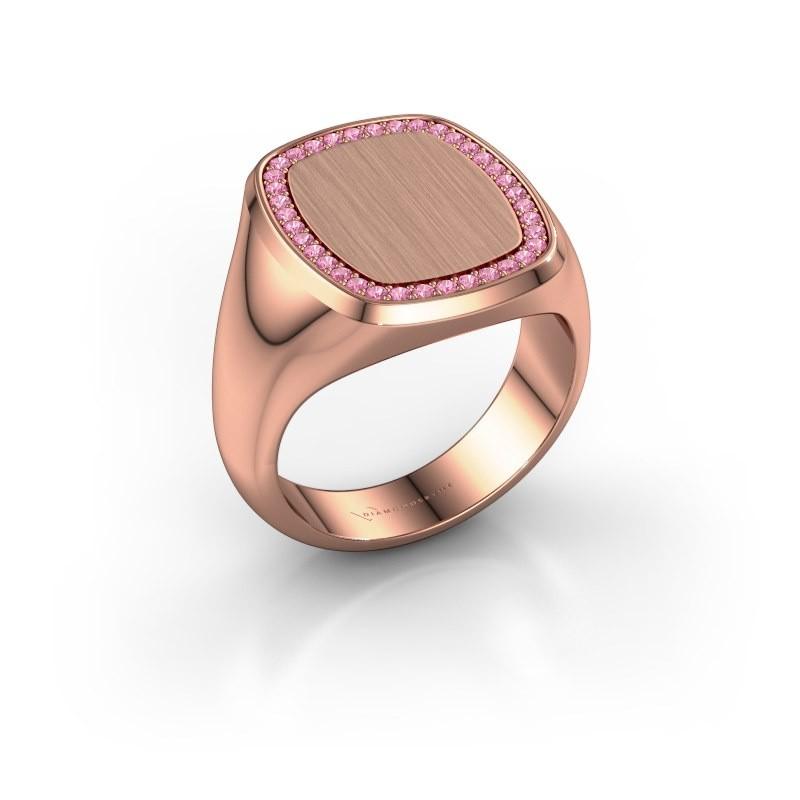 Heren ring Floris Cushion 4 375 rosé goud roze saffier 1.2 mm