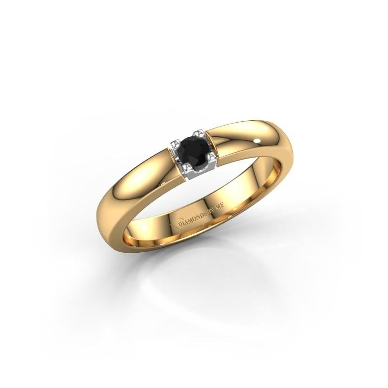 Engagement ring Rianne 1 585 gold black diamond 0.12 crt