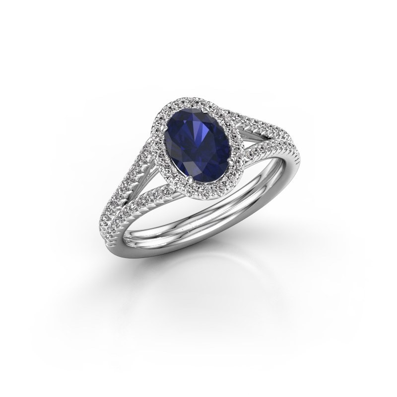 Engagement ring Rachele 2 585 white gold sapphire 7x5 mm