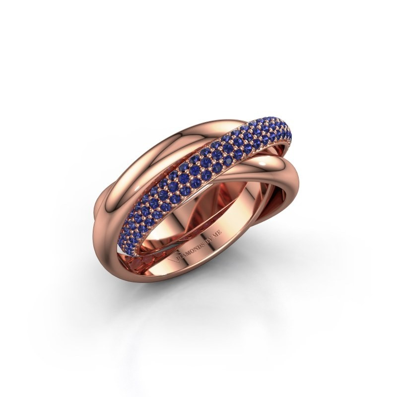 Ring Helena 2 585 rosé goud saffier 1 mm