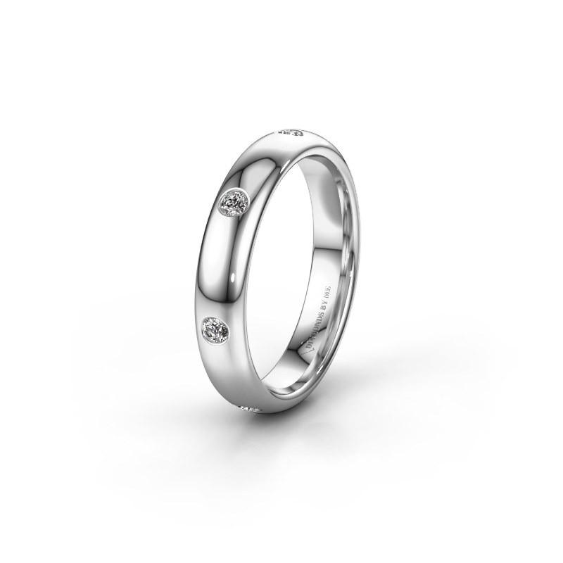 Wedding ring WH0105L34BP 950 platinum zirconia ±0.16x0.08 in