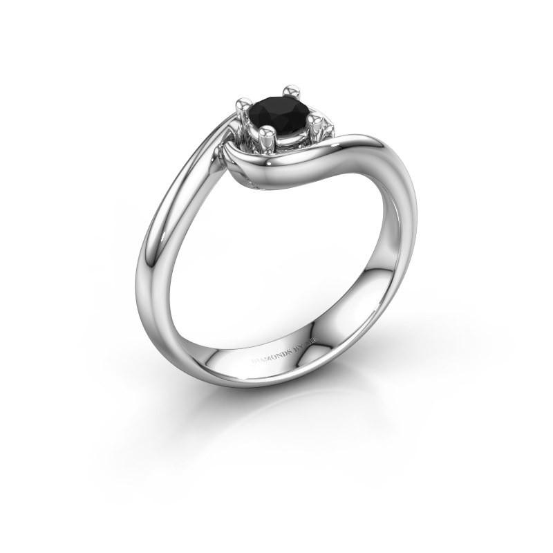 Ring Linn 585 white gold black diamond 0.30 crt