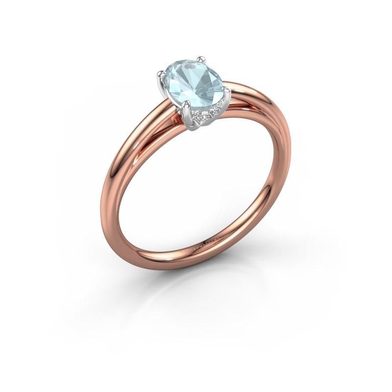 Verlovingsring Haley OVL 1 585 rosé goud aquamarijn 7x5 mm