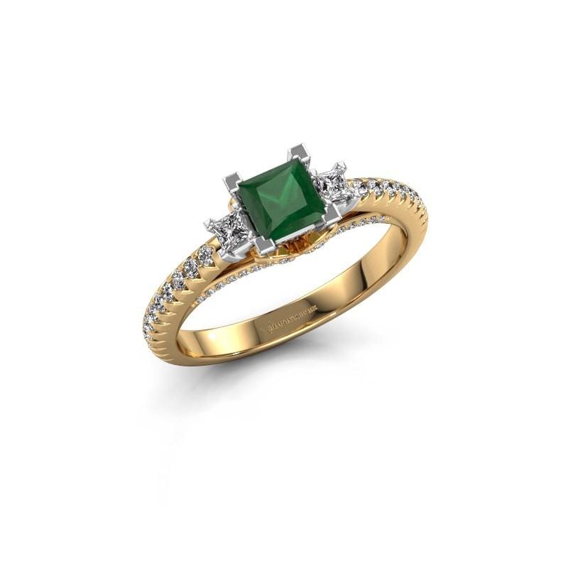 Verlovingsring Valentina 585 goud smaragd 4.25 mm
