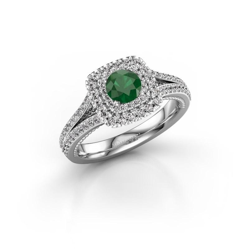 Verlovingsring Annette 950 platina smaragd 5 mm