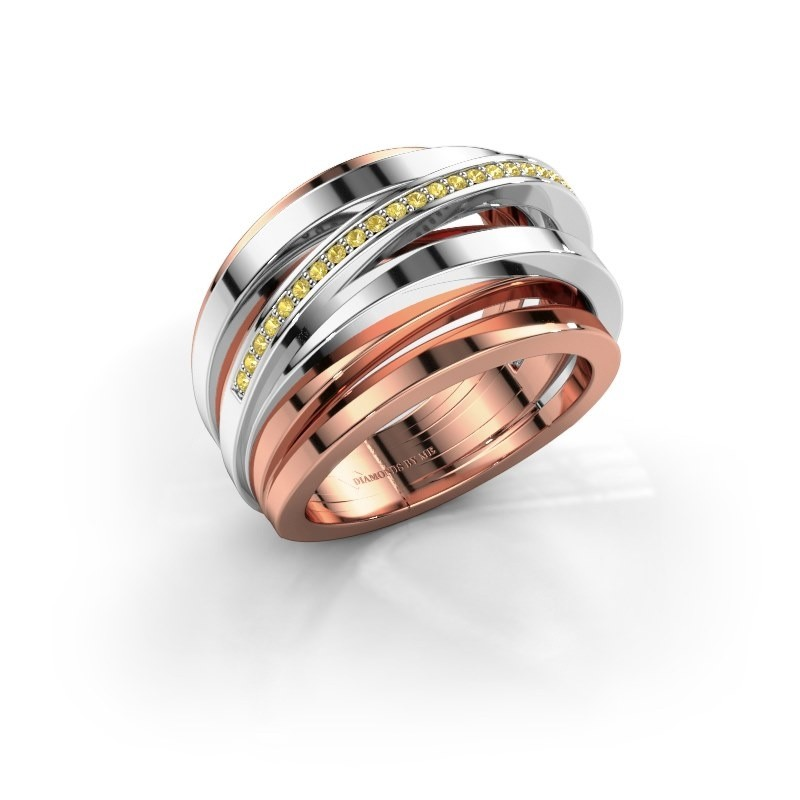 Ring Swinda 585 rosé goud gele saffier 1 mm