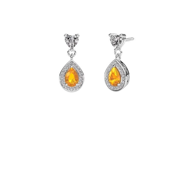 Drop earrings Susannah 585 white gold citrin 6x4 mm