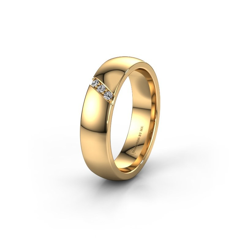 Trouwring WH0174L25BP 375 goud diamant ±5x2 mm
