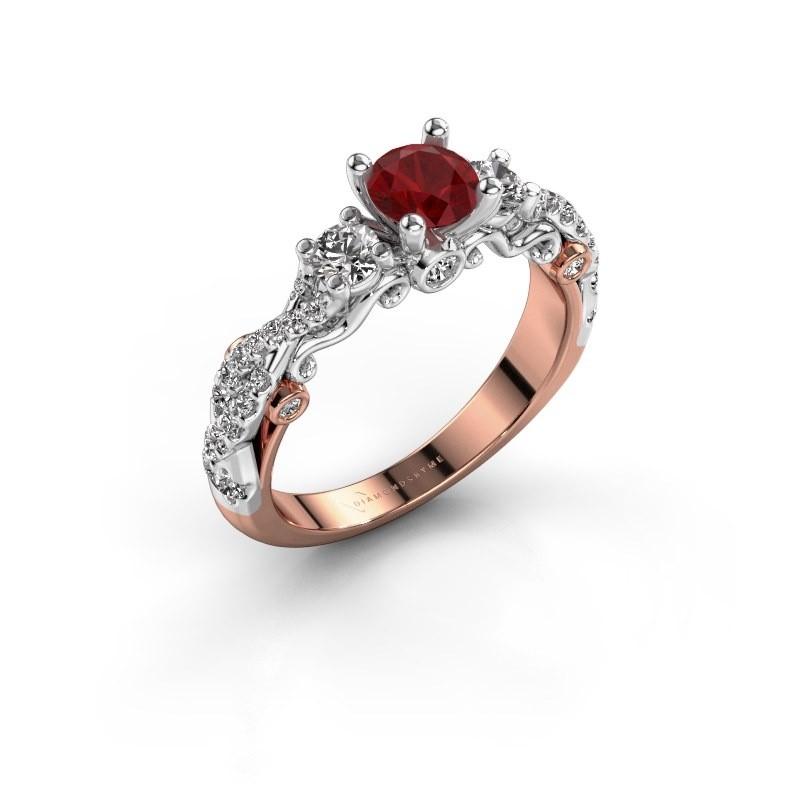 Verlovingsring Kourtney 585 rosé goud robijn 5 mm