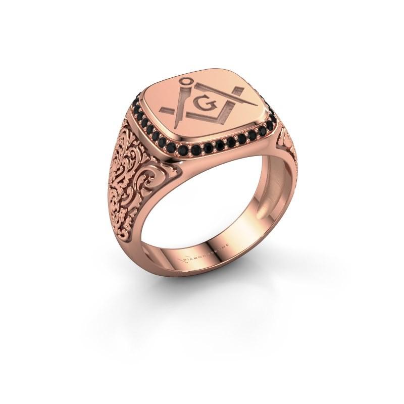 Men's ring Hugo 375 rose gold black diamond 0.306 crt