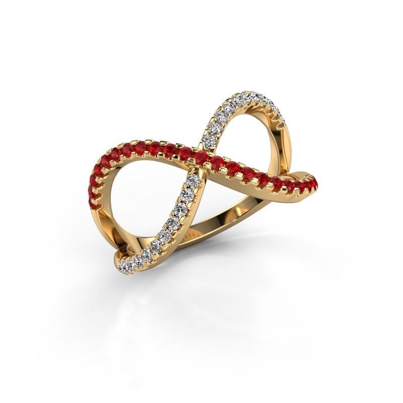 Ring Alycia 2 375 goud robijn 1.3 mm