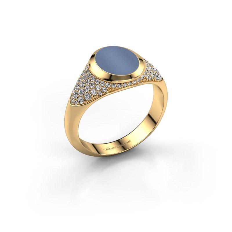 Pinkring Giovani 585 goud licht blauwe lagensteen 10x8 mm