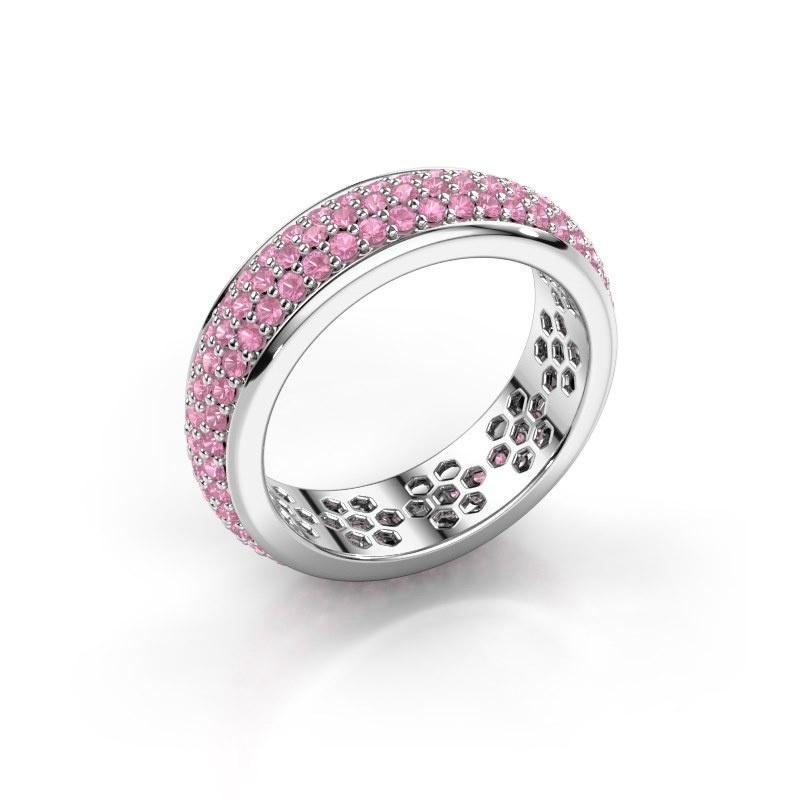 Ring Tara 925 silver pink sapphire 1.3 mm