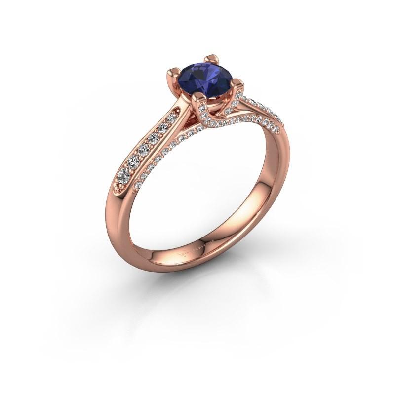 Verlovingsring Mia 3 375 rosé goud saffier 5 mm