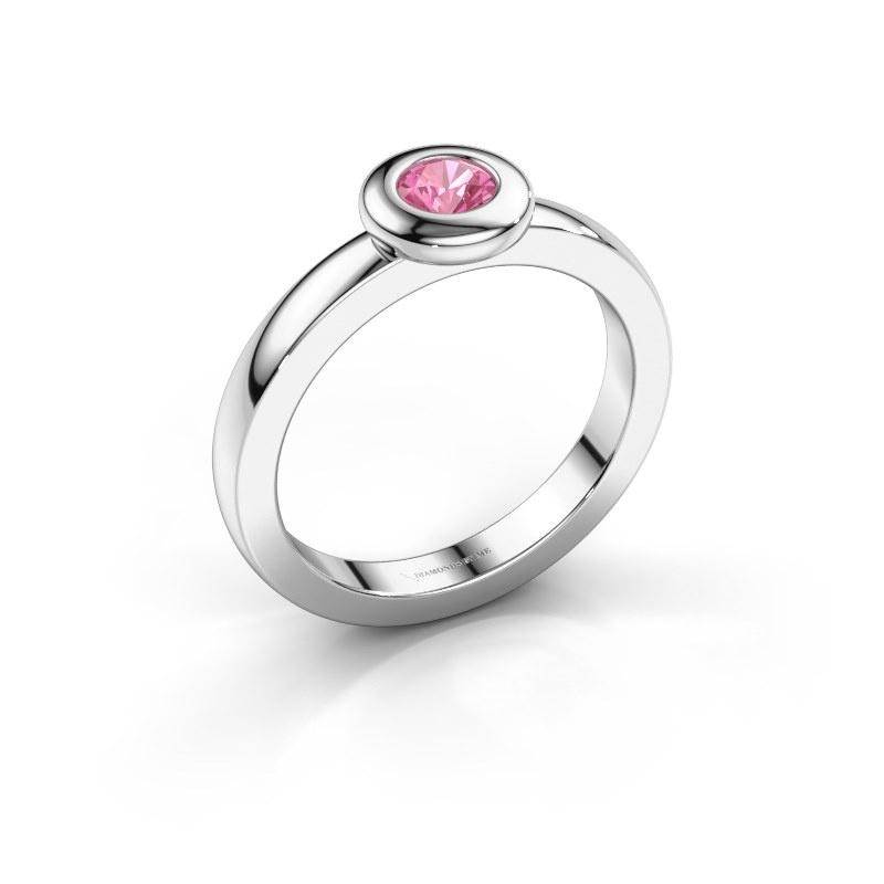 Ring Iris 925 silver pink sapphire 4 mm