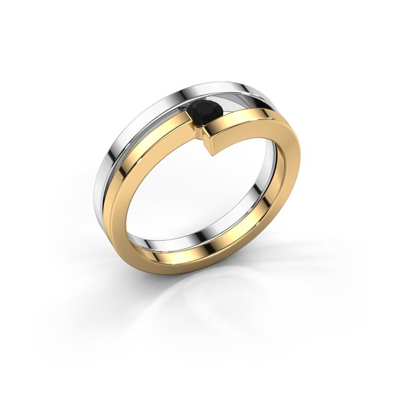 Ring Nikia 585 witgoud zwarte diamant 0.18 crt