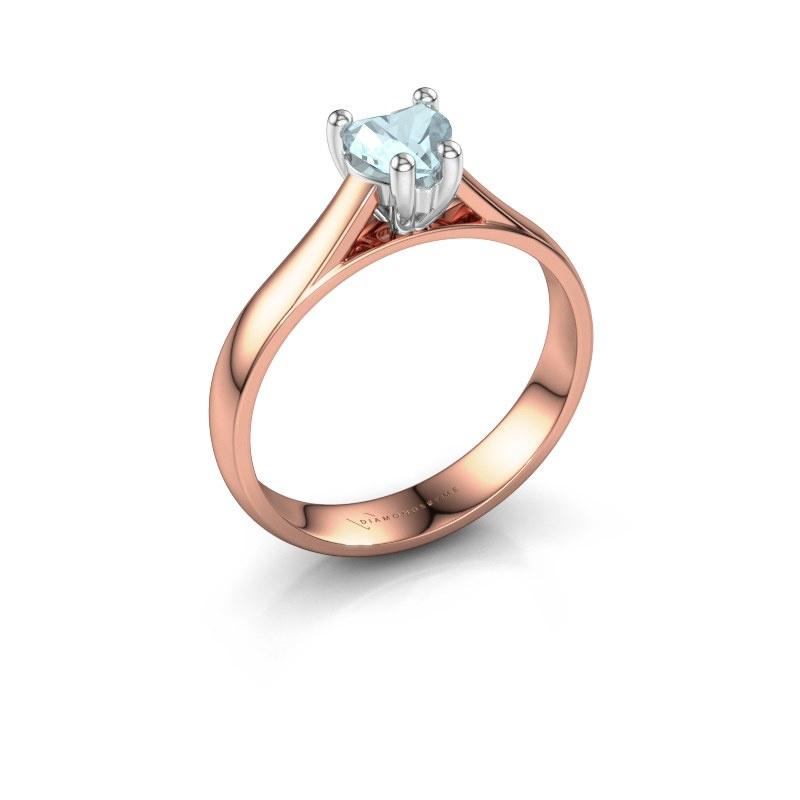 Engagement ring Sam Heart 585 rose gold aquamarine 5 mm