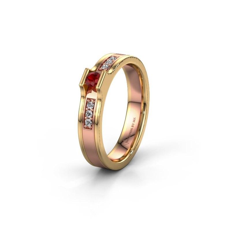 Trouwring WH2110L14A 585 rosé goud robijn ±4x1.7 mm