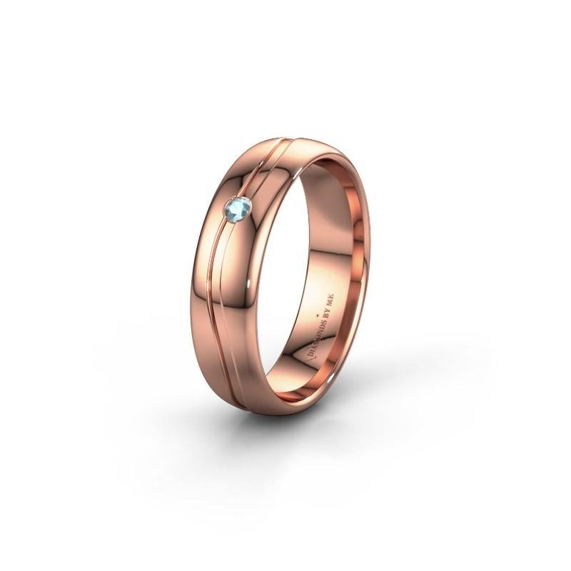 Wedding ring WH0905L35X 585 rose gold aquamarine ±0.20x0.07 in