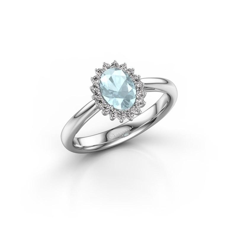 Engagement ring Tilly ovl 1 585 white gold aquamarine 7x5 mm