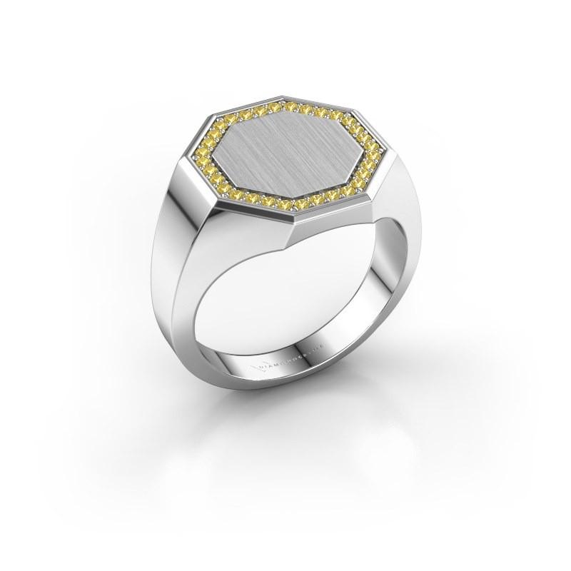 Heren ring Floris Octa 3 950 platina gele saffier 1.2 mm