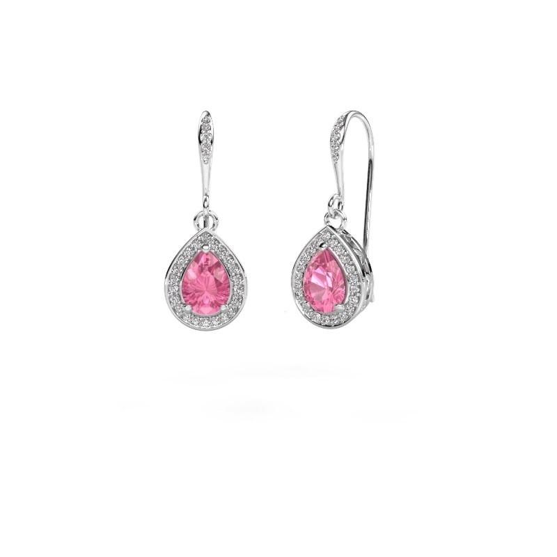 Ohrhänger Beverlee 2 950 Platin Pink Saphir 7x5 mm
