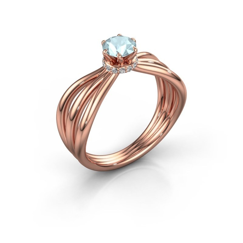 Engagement ring Kimi 375 rose gold aquamarine 5 mm