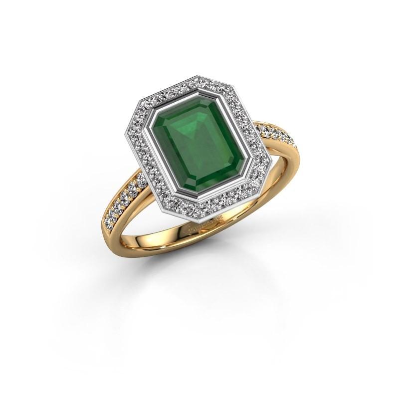 Verlovingsring Noud 2 EME 585 goud smaragd 8x6 mm
