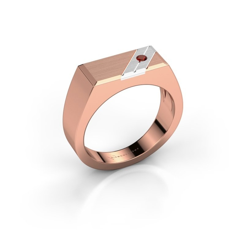Men's ring Dree 5 585 rose gold garnet 2.4 mm
