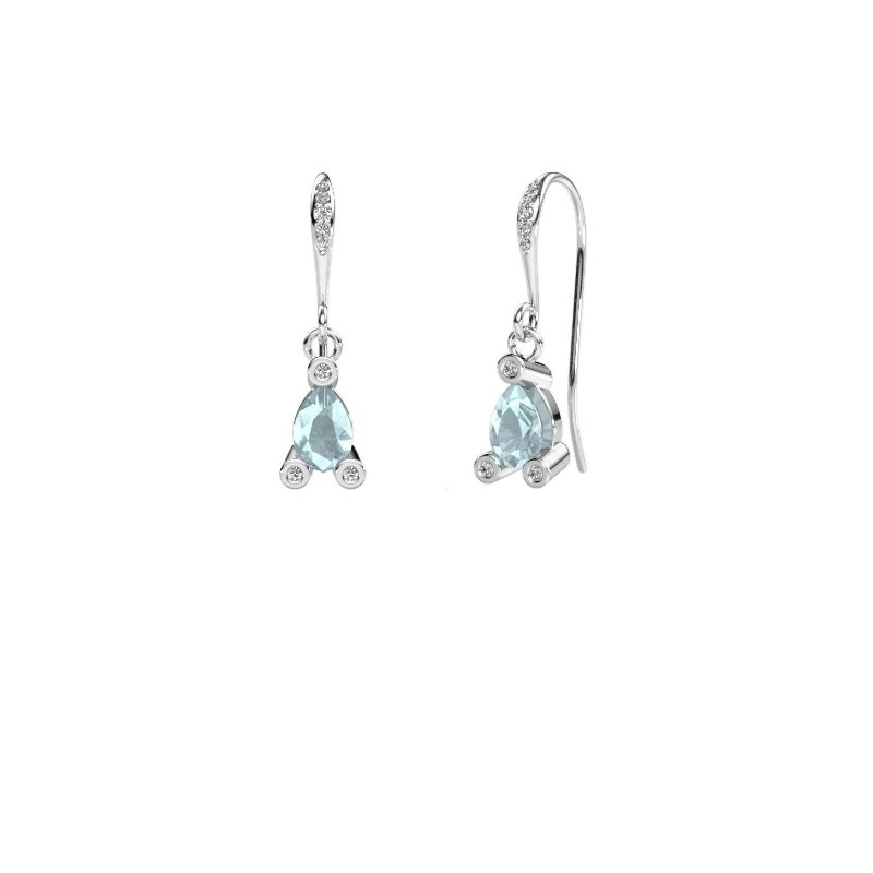 Drop earrings Bunny 2 375 white gold aquamarine 7x5 mm