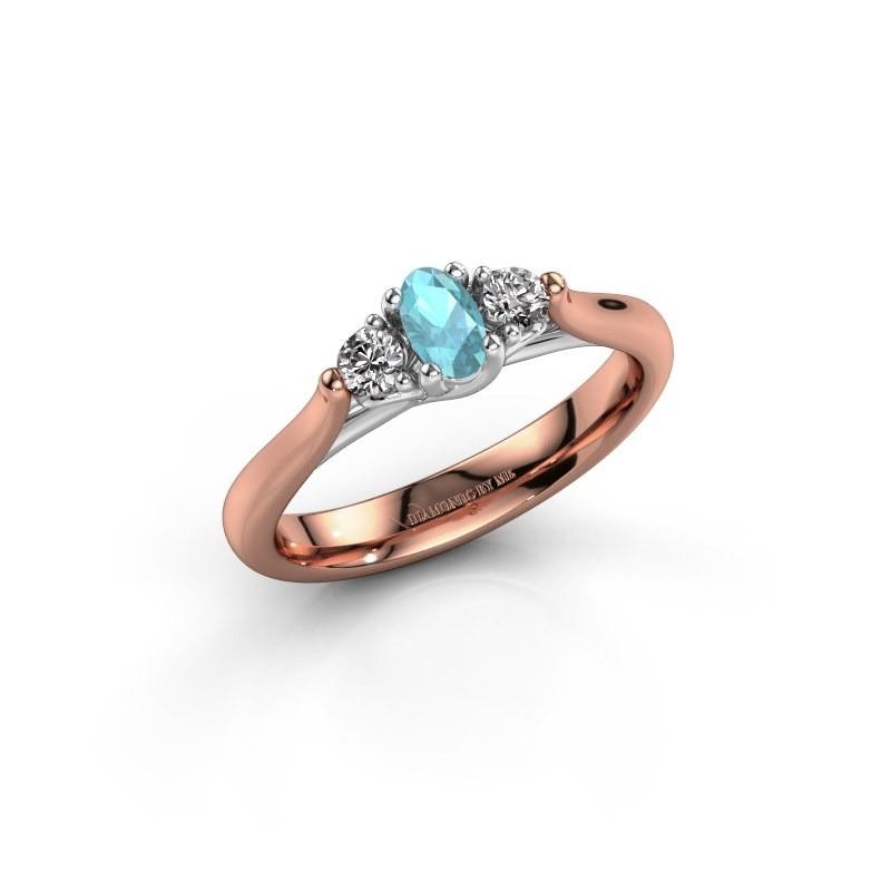Verlovingsring Jente OVL 585 rosé goud blauw topaas 5x3 mm