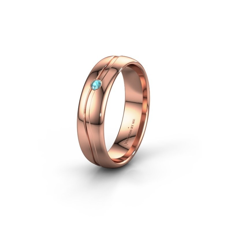 Wedding ring WH0905L35X 585 rose gold blue topaz ±5x1.7 mm