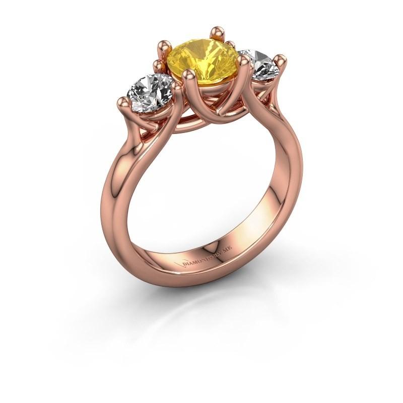 Verlovingsring Esila 375 rosé goud gele saffier 6.5 mm