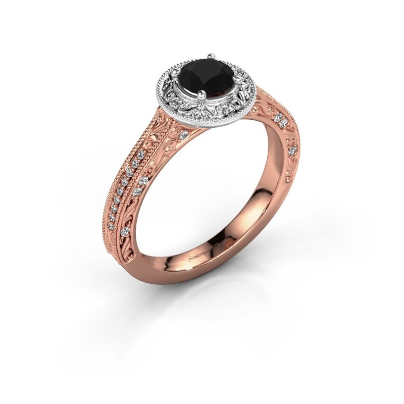 Bague de fiançailles Alice RND 585 or rose diamant noir 0.70 crt