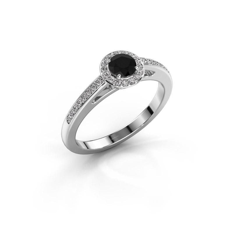 Verlovingsring Aaf 585 witgoud zwarte diamant 0.52 crt